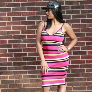 Dresses & Skirts - PINK STRIPED KNIT BODYCON DRESS